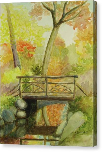 Wooden Bridge Central Park  Canvas Print