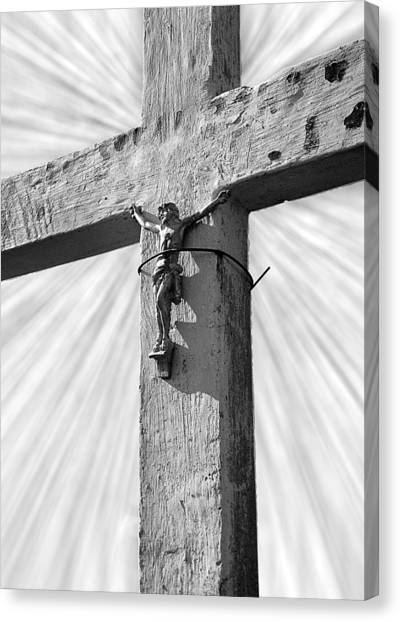 Religious Artist Canvas Print - Wooden Cross With Jesus by Donald  Erickson