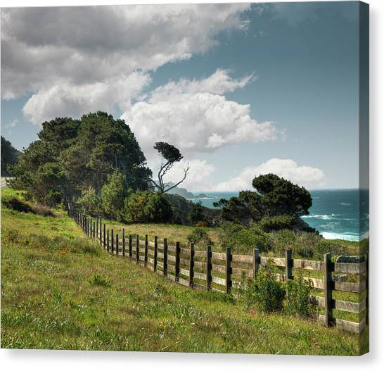 Wooden Fence Along California Coast Canvas Print by Ed Freeman