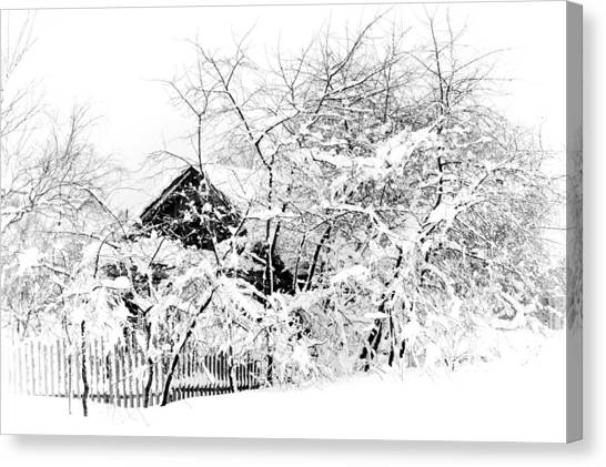 Wooden House After Heavy Snowfall. Russia Canvas Print