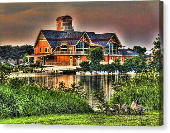 Wooden Lodge Over Looking A Lake Canvas Print