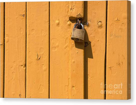 Wooden Plank Door Steel Lock Canvas Print