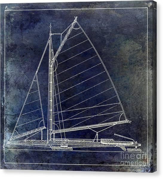 Jibbing Canvas Print - Wooden Sailboat Blue by Jon Neidert