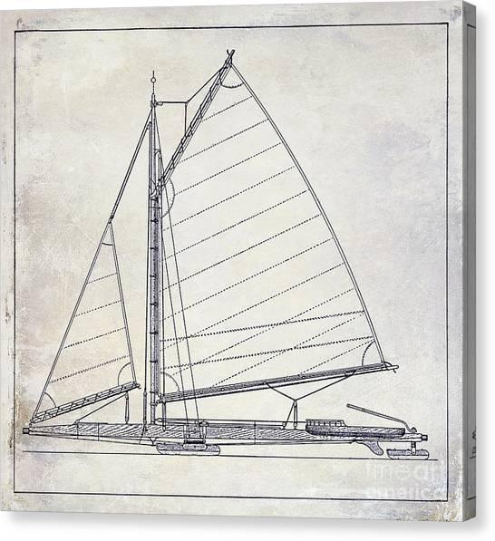 Jibbing Canvas Print - Wooden Sailboat  by Jon Neidert