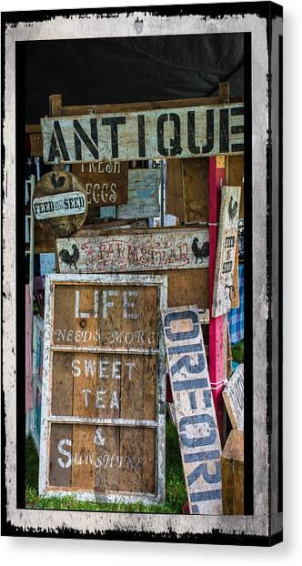 Sweet Tea Canvas Print - Wooden Signs by Sherman Perry