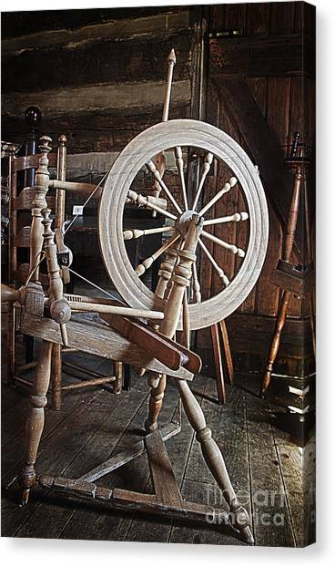 Wooden Spinning Wheel Canvas Print