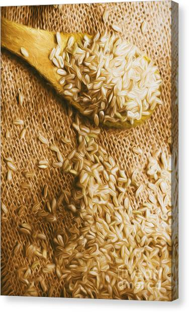 Ingredient Canvas Print - Wooden Tablespoon Serving Of Uncooked Brown Rice by Jorgo Photography - Wall Art Gallery