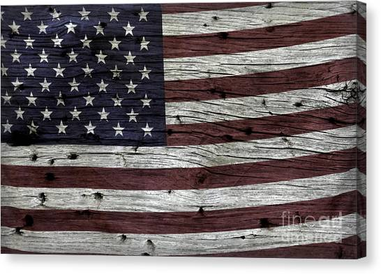 Wooden Textured Usa Flag3 Canvas Print