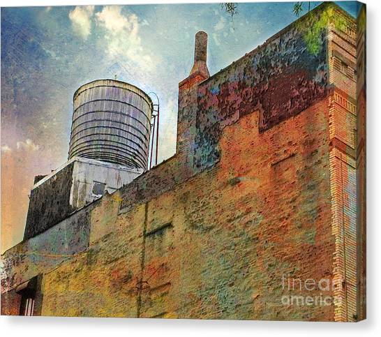 Wooden Water Tower New York City Roof Top Canvas Print