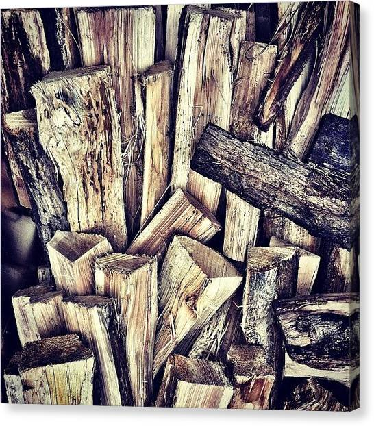 Axes Canvas Print - #woodlogs #wood #woodpattern #woodscape by Bill Bernal