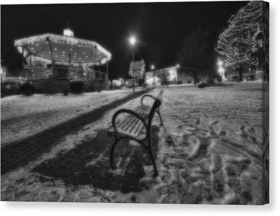 Groundhog Canvas Print - Woodstock Square Xmas Eve Nite by Sven Brogren