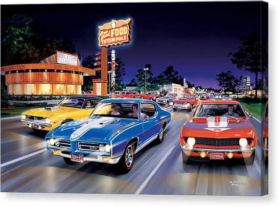 Fast Food Canvas Print - Woodward Avenue by Bruce Kaiser