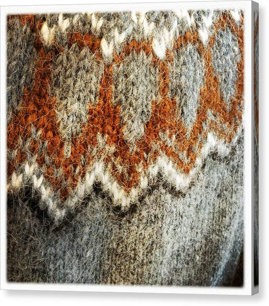 Detail Canvas Print - Woolen Jersey Detail Grey And Orange by Matthias Hauser