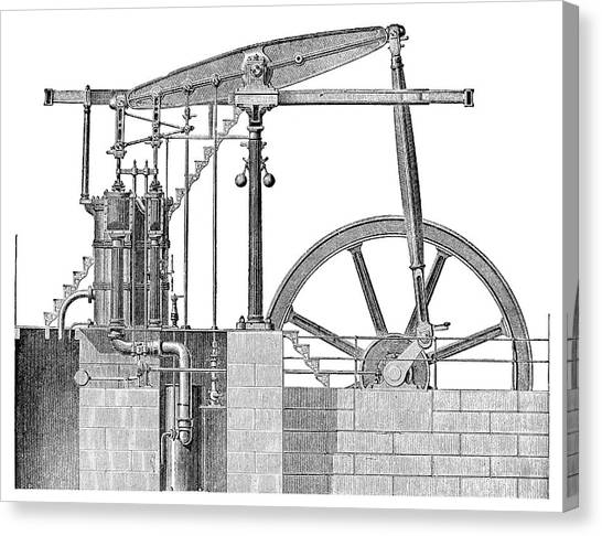 Balance Beam Canvas Print - Woolf Steam Engine by Science Photo Library