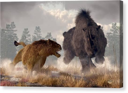 Canvas Print featuring the digital art Woolly Rhino And Cave Lion by Daniel Eskridge