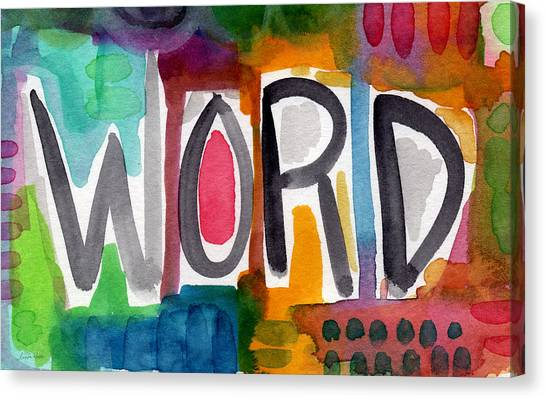 Cafe Art Canvas Print - Word- Colorful Abstract Pop Art by Linda Woods