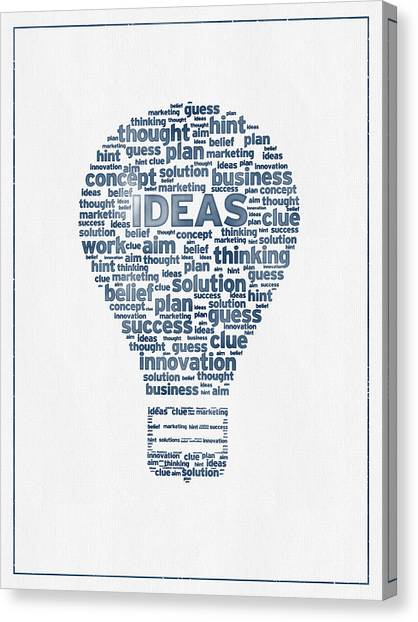 Improve Canvas Print - Words Ideas  -  Blue Ink by Aged Pixel