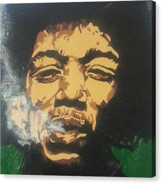 Rock And Roll Canvas Print - Jimi Hendrix by Rachel Natalie Rawlins