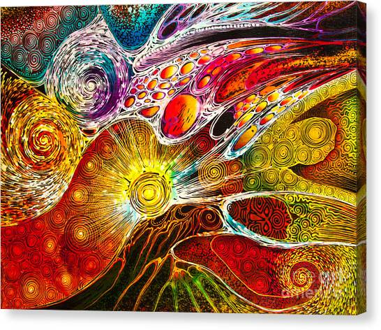 Work On Batik Painting Abstract Colorful Canvas Print