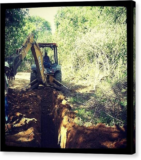 Backhoes Canvas Print - #workday #backhoe #excavation #ditch by Jose Tovar