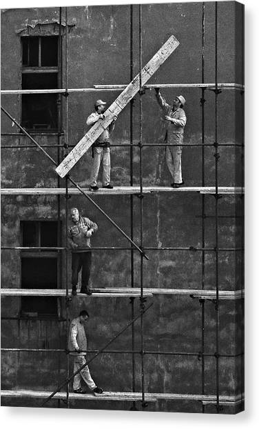 Construction Canvas Print - Workers 2 by Violeta Milutinovic