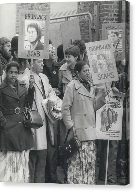 Workers At The Grunwick Laboratories Offered Council Houses Canvas Print by Retro Images Archive