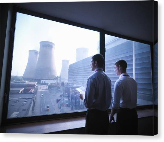 Workers Looking Out Over Power Station Canvas Print by Monty Rakusen