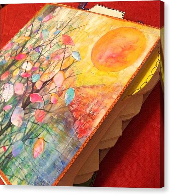 Watercolor Canvas Print - Working On Some #handmade #artjournals by Robin Mead