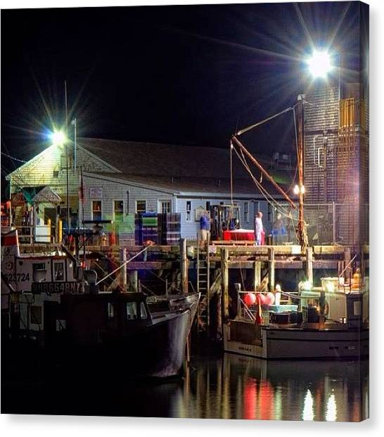 Fishing Canvas Print - Working The Docks Late Sunday Night In by Joann Vitali