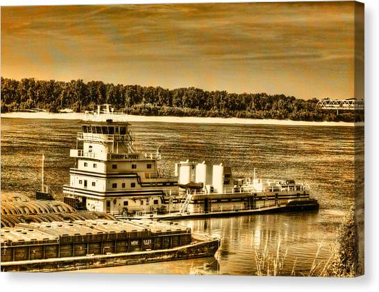 Working The River - Mississippi River Canvas Print