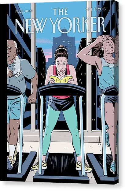Workout Canvas Print - Workout Reading by R Kikuo Johnson
