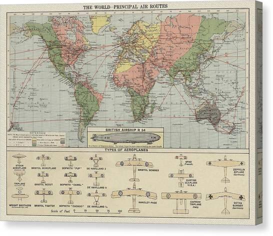 World Air Routes Map 1920 Canvas Print