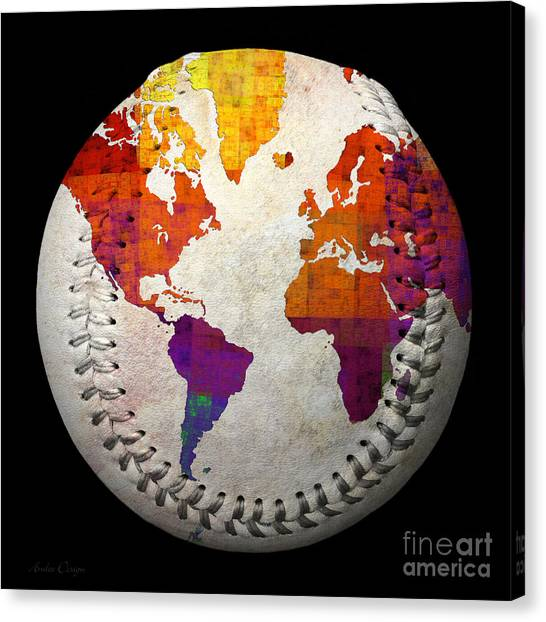 World Map - Rainbow Bliss Baseball Square Canvas Print