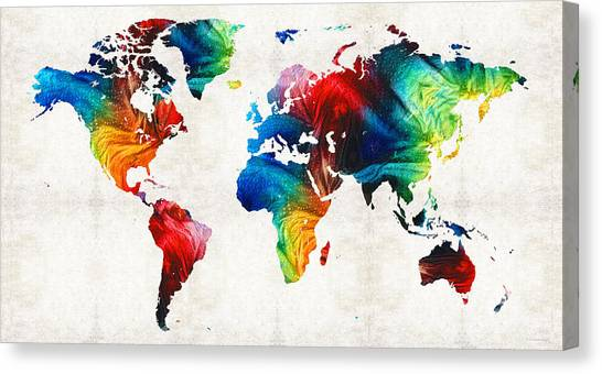 South Asia Canvas Print - World Map 19 - Colorful Art By Sharon Cummings by Sharon Cummings