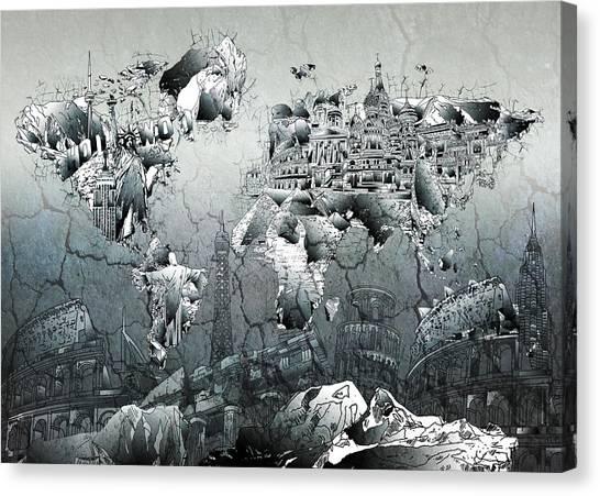 The Colosseum Canvas Print - World Map Grunge Landmarks by Bekim Art
