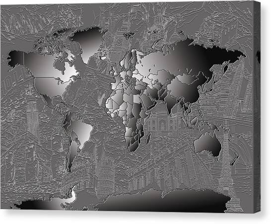 The Colosseum Canvas Print - World Map Landmark Collage 6 by Bekim Art