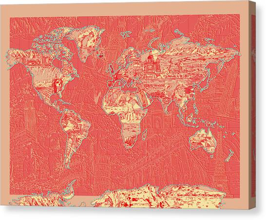 The Colosseum Canvas Print - World Map Landmark Collage Red by Bekim Art