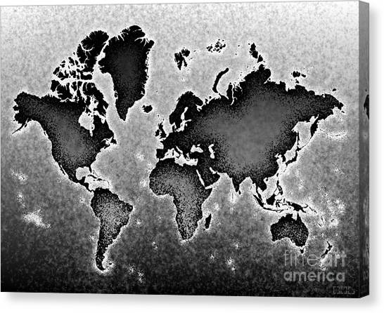 World Map Novo In Black And White Canvas Print
