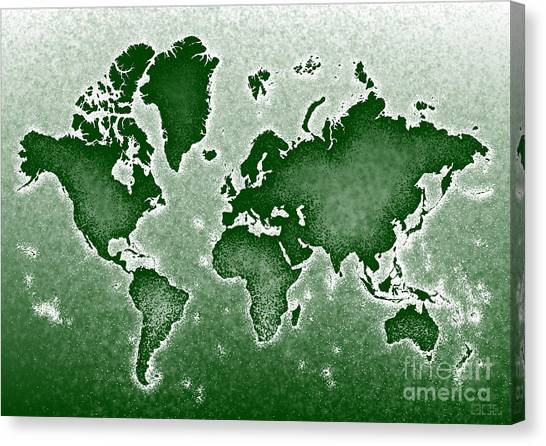 World Map Novo In Green Canvas Print