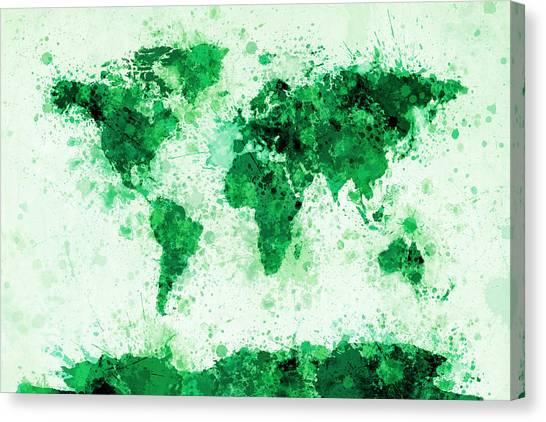 World Map Paint Splashes Green Canvas Print by Michael Tompsett