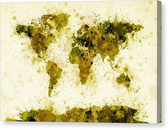 Mustard Canvas Print - World Map Paint Splashes Yellow by Michael Tompsett