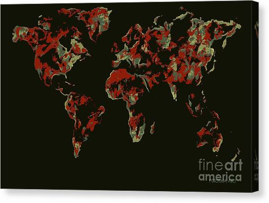 Relief map canvas prints page 8 of 9 fine art america relief map canvas print world map red pop by dragica micki fortuna gumiabroncs Images
