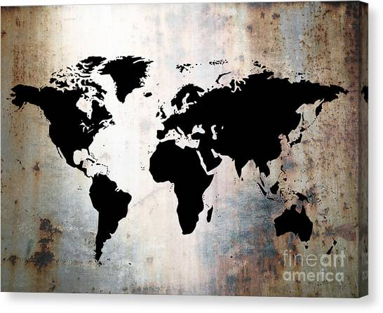 Metallic world map canvas prints fine art america metallic world map canvas print world map rusted metal by roz abellera gumiabroncs Images