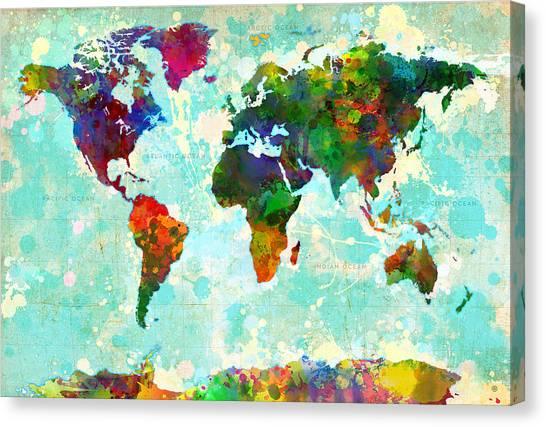 World Map Splatter Design Canvas Print