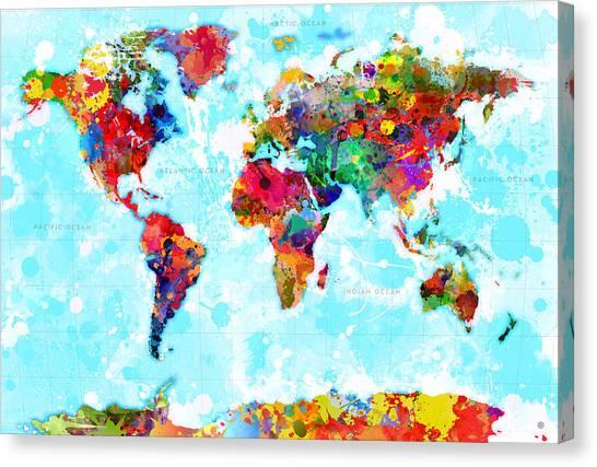 Digital Watercolor Canvas Print - World Map Splattered by Gary Grayson