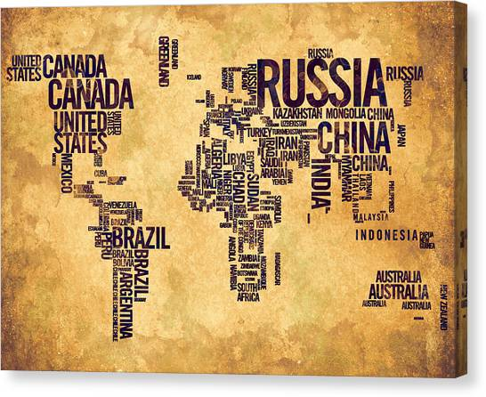 World Map Typography 6 Watercolor Painting Canvas Print