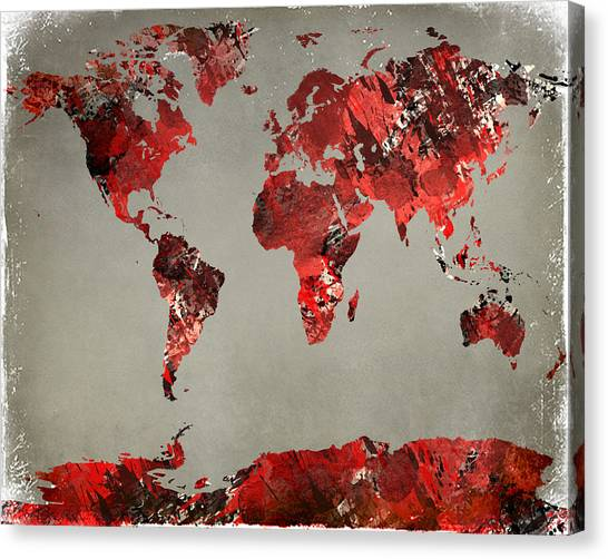 World Map - Watercolor Red-black-gray Canvas Print