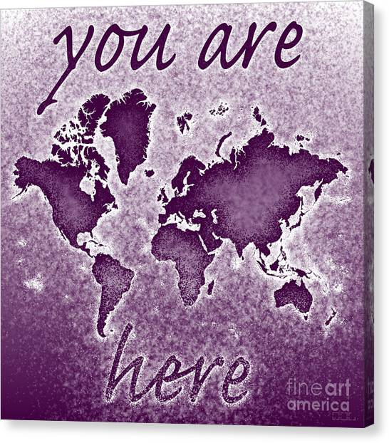 World Map You Are Here Novo In Purple Canvas Print