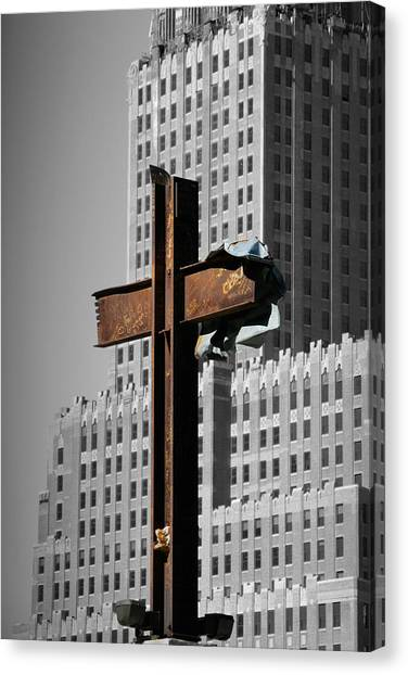 World Trade Center Cross New York Canvas Print by Mathew Lodge