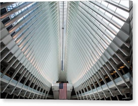 Stars And Stripes Canvas Print - World Trade Center Station by Federico Cella